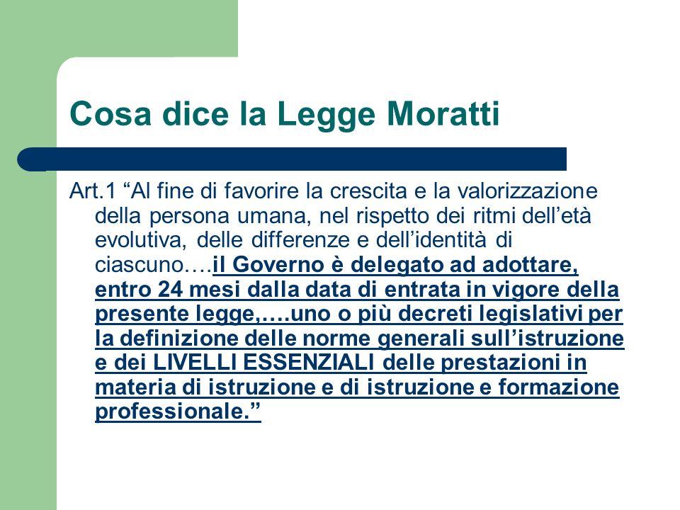 Cosa dice la Legge Moratti Art.1 Al fine di favorire la crescita e la valorizzazione della persona umana, nel rispetto dei ritmi delletà evolutiva, de