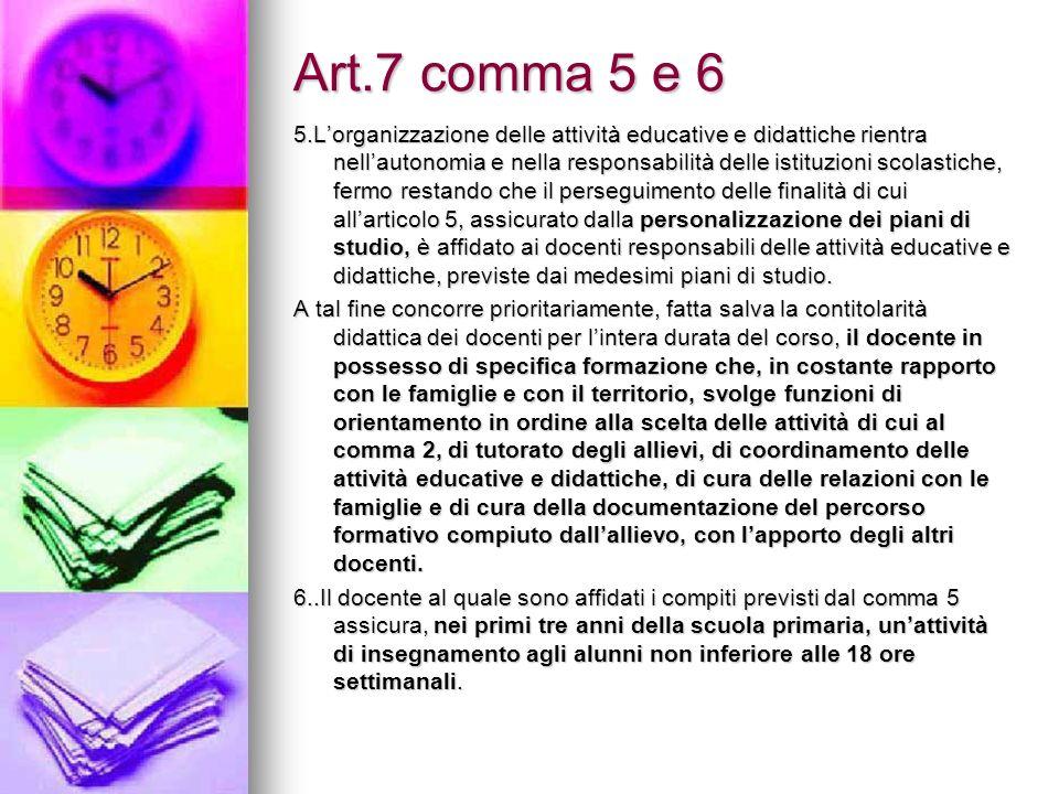 Art.7 comma 5 e 6 5.Lorganizzazione delle attività educative e didattiche rientra nellautonomia e nella responsabilità delle istituzioni scolastiche,