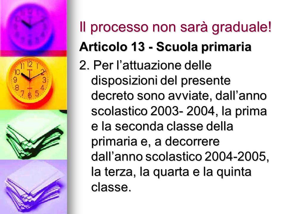 Il processo non sarà graduale! Articolo 13 - Scuola primaria 2. Per lattuazione delle disposizioni del presente decreto sono avviate, dallanno scolast
