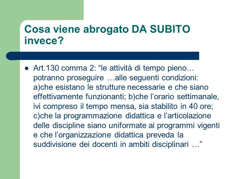Cosa viene abrogato DA SUBITO invece? Art.130 comma 2: le attività di tempo pieno… potranno proseguire …alle seguenti condizioni: a)che esistano le st