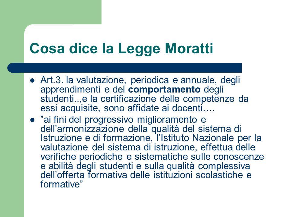 Cosa dice la Legge Moratti Art.3. la valutazione, periodica e annuale, degli apprendimenti e del comportamento degli studenti..,e la certificazione de