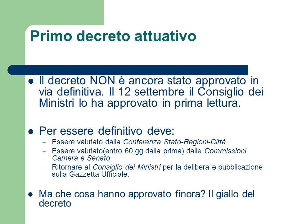 Primo decreto attuativo Il decreto NON è ancora stato approvato in via definitiva. Il 12 settembre il Consiglio dei Ministri lo ha approvato in prima
