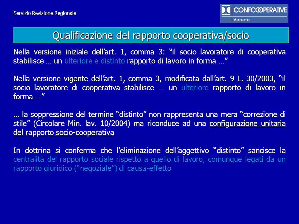 Nella versione iniziale dellart. 1, comma 3: il socio lavoratore di cooperativa stabilisce … un ulteriore e distinto rapporto di lavoro in forma … Nel