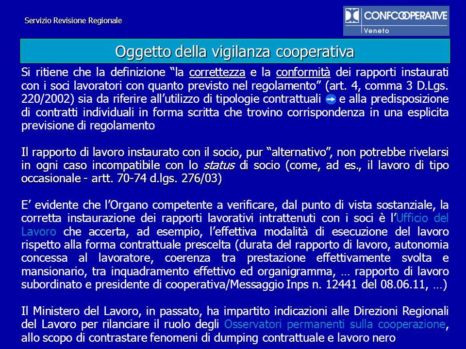 Servizio Revisione Regionale Oggetto della vigilanza cooperativa Si ritiene che la definizione la correttezza e la conformità dei rapporti instaurati