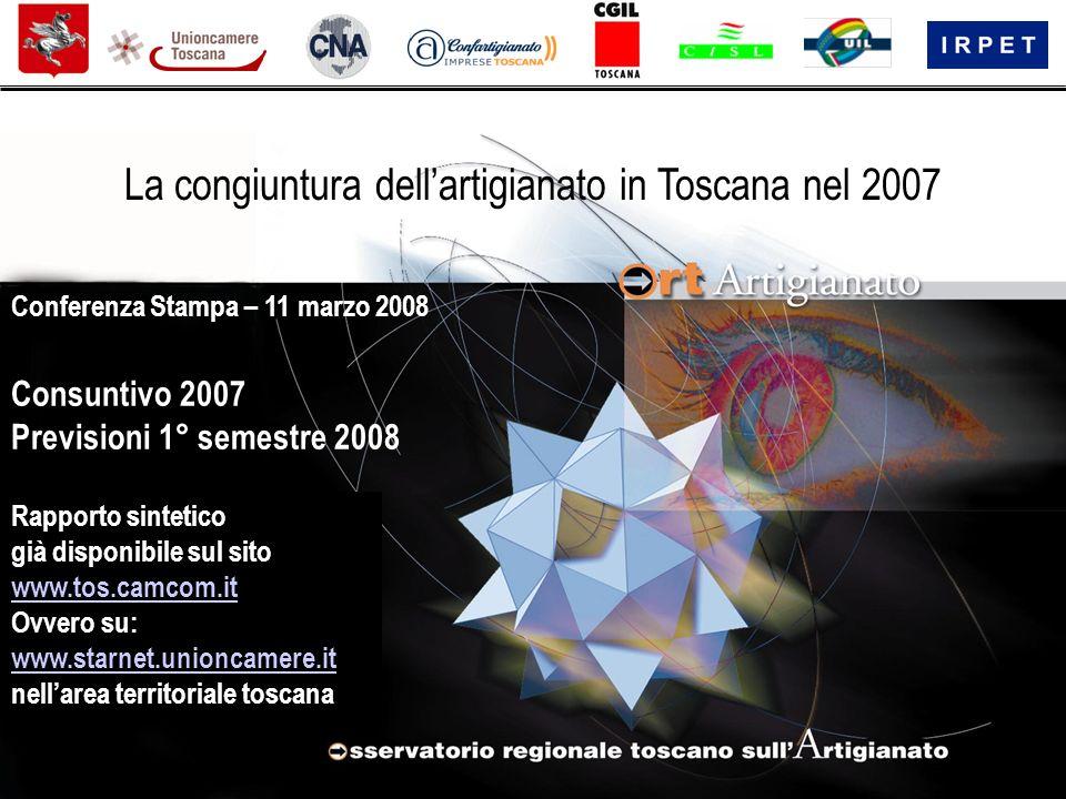 Rapporto sintetico già disponibile sul sito www.tos.camcom.it Ovvero su: www.starnet.unioncamere.it nellarea territoriale toscana Consuntivo 2007 Previsioni 1° semestre 2008 Conferenza Stampa – 11 marzo 2008 La congiuntura dellartigianato in Toscana nel 2007