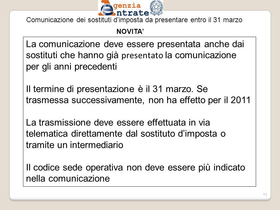 Comunicazione dei sostituti dimposta da presentare entro il 31 marzo La comunicazione deve essere presentata anche dai sostituti che hanno già presentato la comunicazione per gli anni precedenti Il termine di presentazione è il 31 marzo.