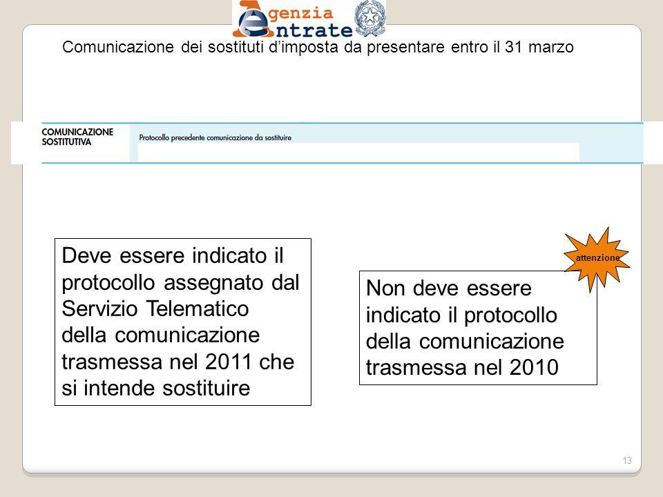 Comunicazione dei sostituti dimposta da presentare entro il 31 marzo Deve essere indicato il protocollo assegnato dal Servizio Telematico della comunicazione trasmessa nel 2011 che si intende sostituire Non deve essere indicato il protocollo della comunicazione trasmessa nel 2010 attenzione 13