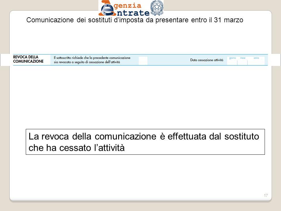 Comunicazione dei sostituti dimposta da presentare entro il 31 marzo La revoca della comunicazione è effettuata dal sostituto che ha cessato lattività 17