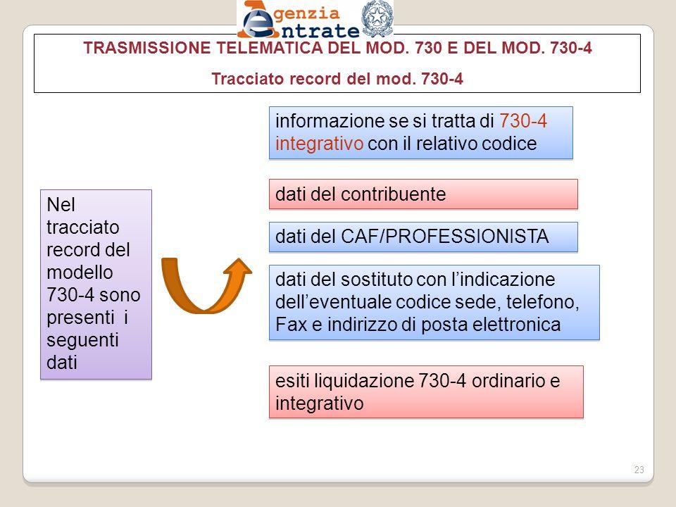 TRASMISSIONE TELEMATICA DEL MOD.730 E DEL MOD. 730-4 Tracciato record del mod.