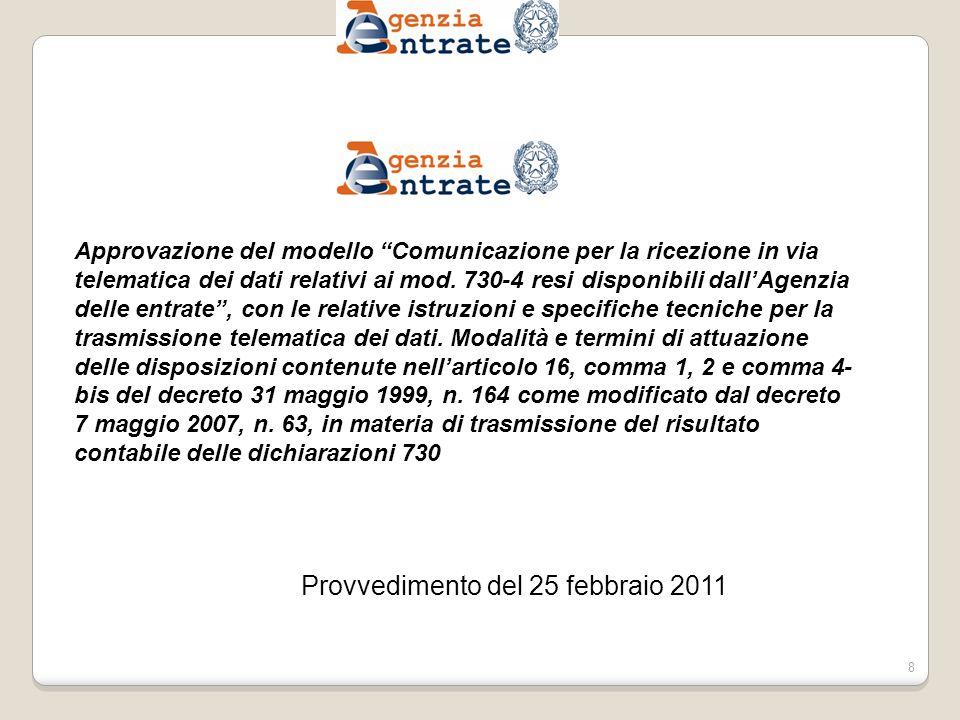 Provvedimento del 25 febbraio 2011 8 Approvazione del modello Comunicazione per la ricezione in via telematica dei dati relativi ai mod.