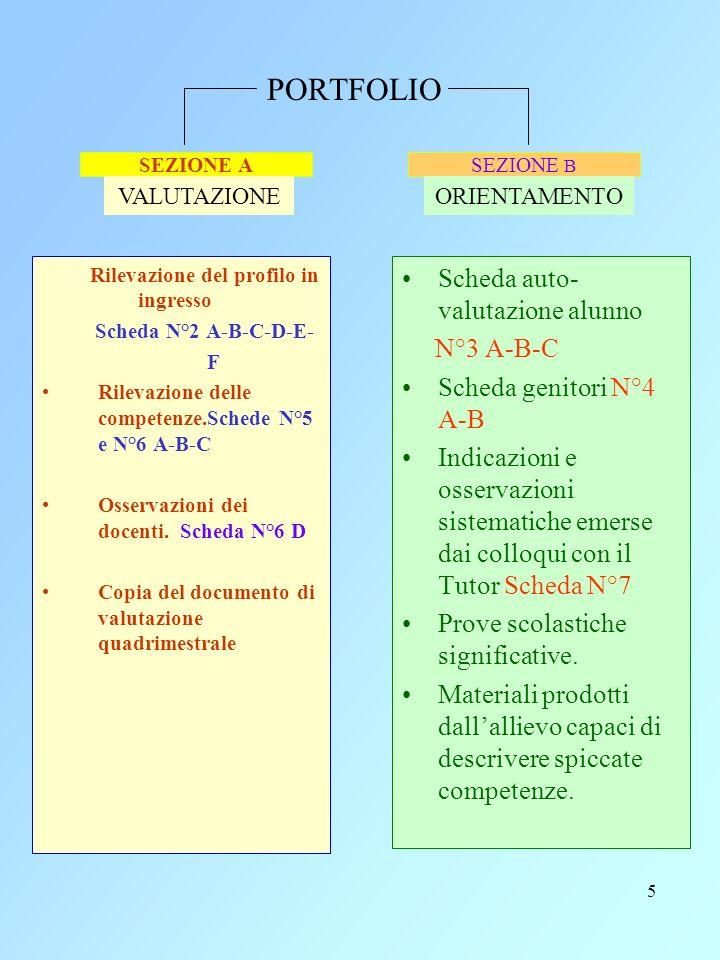 5 PORTFOLIO Rilevazione del profilo in ingresso Scheda N°2 A-B-C-D-E- F Rilevazione delle competenze.Schede N°5 e N°6 A-B-C Osservazioni dei docenti.