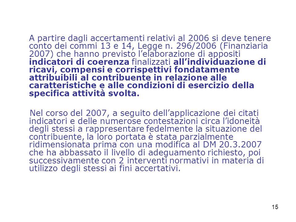 15 A partire dagli accertamenti relativi al 2006 si deve tenere conto dei commi 13 e 14, Legge n.