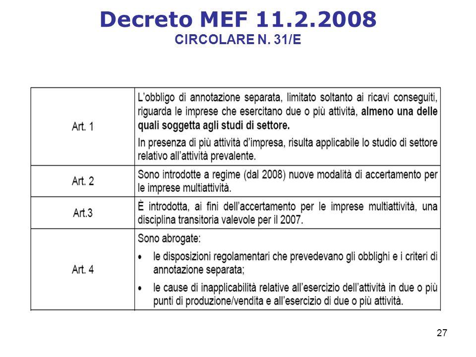 27 Decreto MEF 11.2.2008 CIRCOLARE N. 31/E