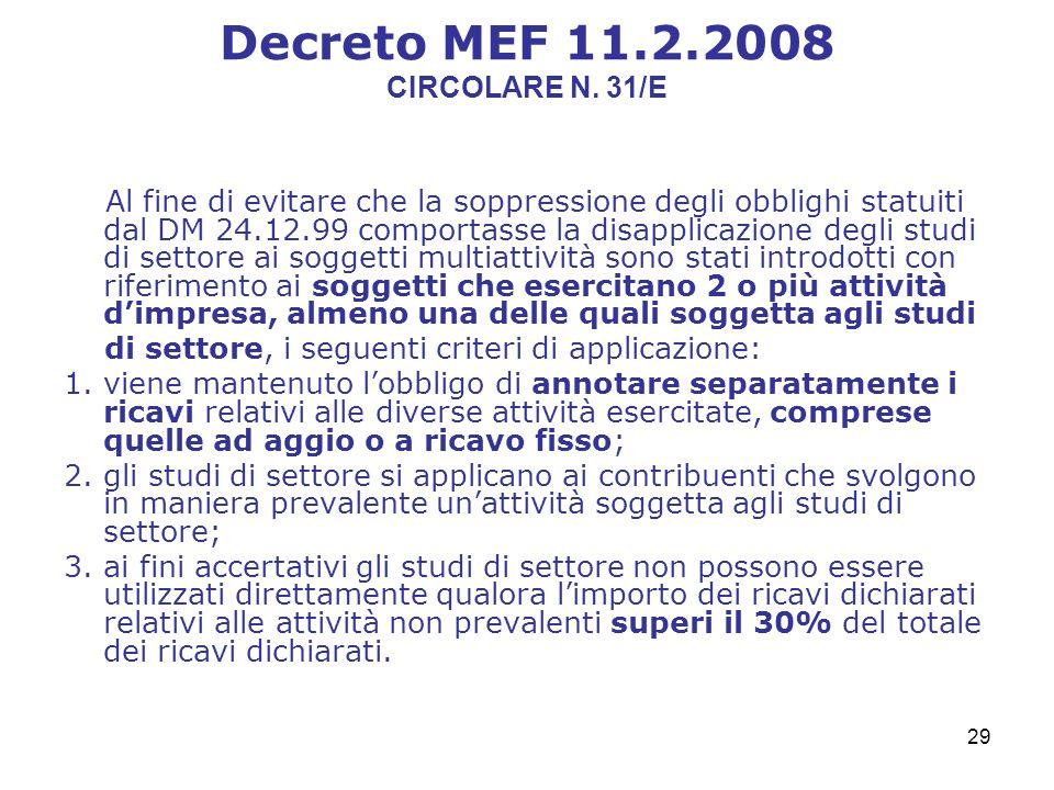 29 Decreto MEF 11.2.2008 CIRCOLARE N.