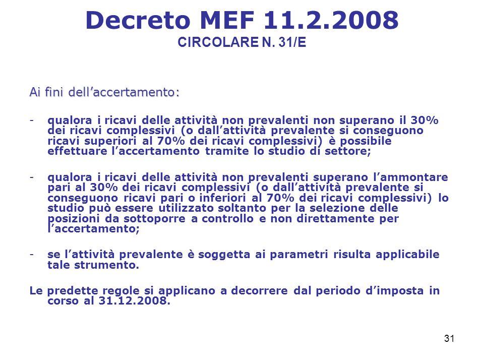 31 Decreto MEF 11.2.2008 CIRCOLARE N.