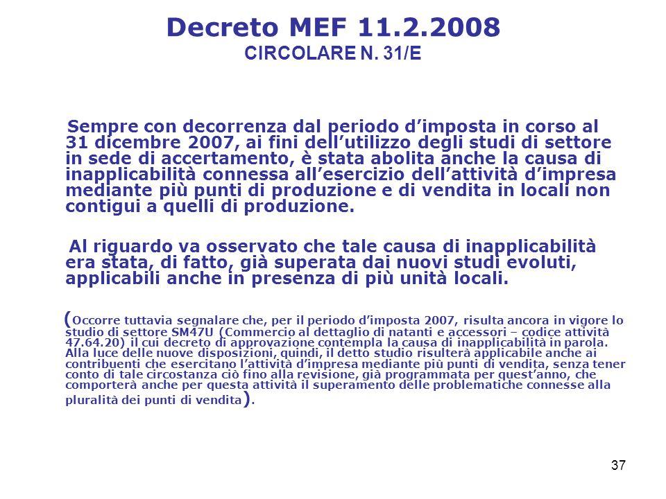 37 Decreto MEF 11.2.2008 CIRCOLARE N.