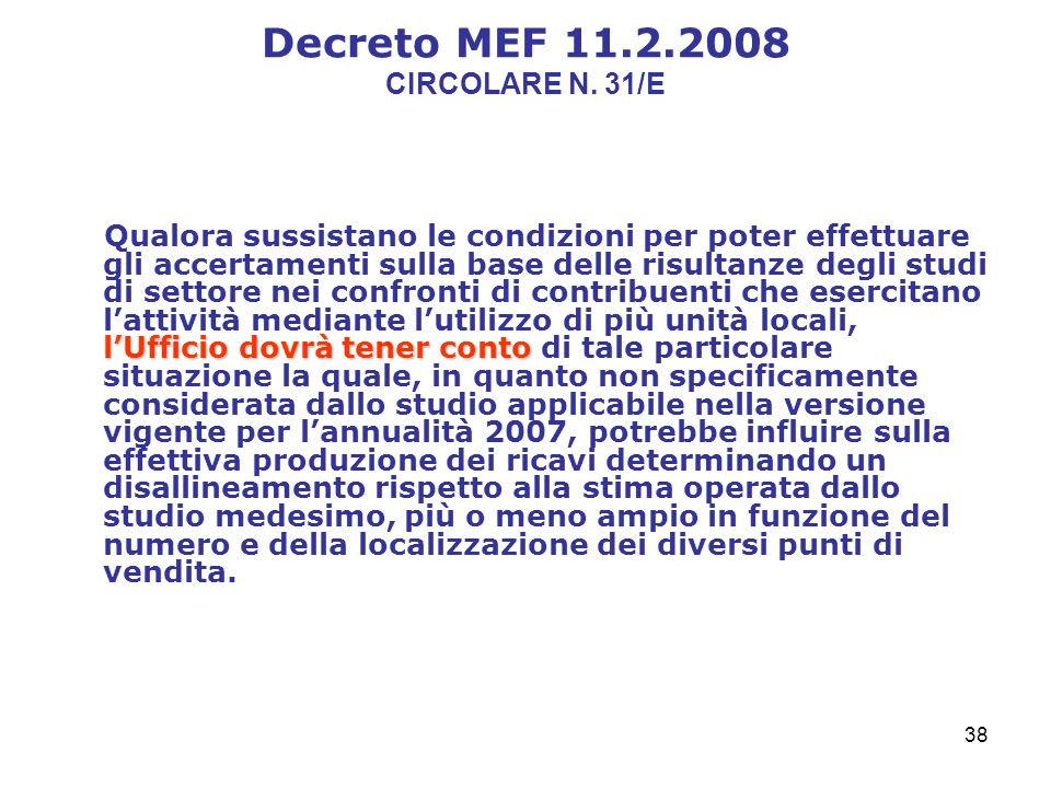 38 Decreto MEF 11.2.2008 CIRCOLARE N.