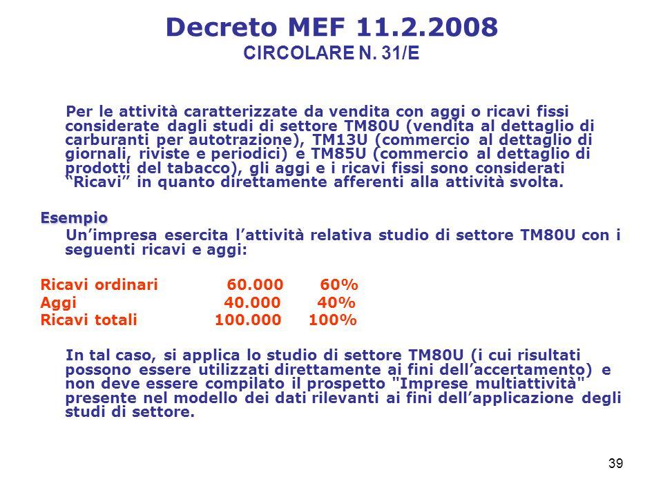 39 Decreto MEF 11.2.2008 CIRCOLARE N.