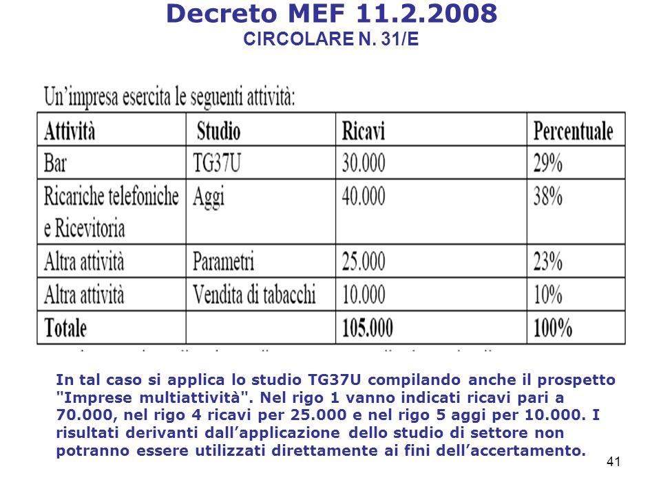 41 Decreto MEF 11.2.2008 CIRCOLARE N.