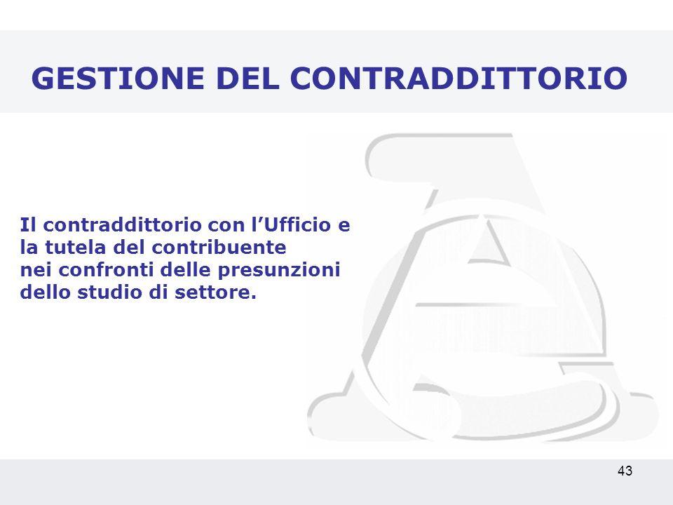 43 GESTIONE DEL CONTRADDITTORIO Il contraddittorio con lUfficio e la tutela del contribuente nei confronti delle presunzioni dello studio di settore.