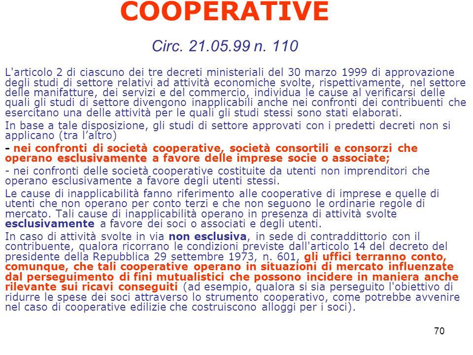 70 COOPERATIVE Circ. 21.05.99 n.