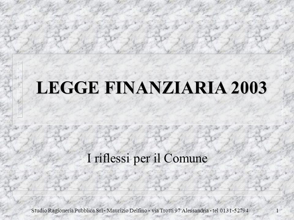 Studio Ragioneria Pubblica Srl - Maurizio Delfino - via Trotti 97 Alessandria - tel 0131-527941 LEGGE FINANZIARIA 2003 I riflessi per il Comune