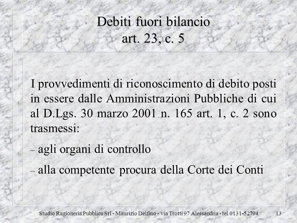 Studio Ragioneria Pubblica Srl - Maurizio Delfino - via Trotti 97 Alessandria - tel 0131-5279413 Debiti fuori bilancio art. 23, c. 5 I provvedimenti d
