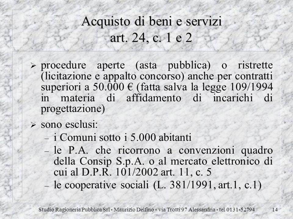 Studio Ragioneria Pubblica Srl - Maurizio Delfino - via Trotti 97 Alessandria - tel 0131-5279414 Acquisto di beni e servizi art. 24, c. 1 e 2 procedur