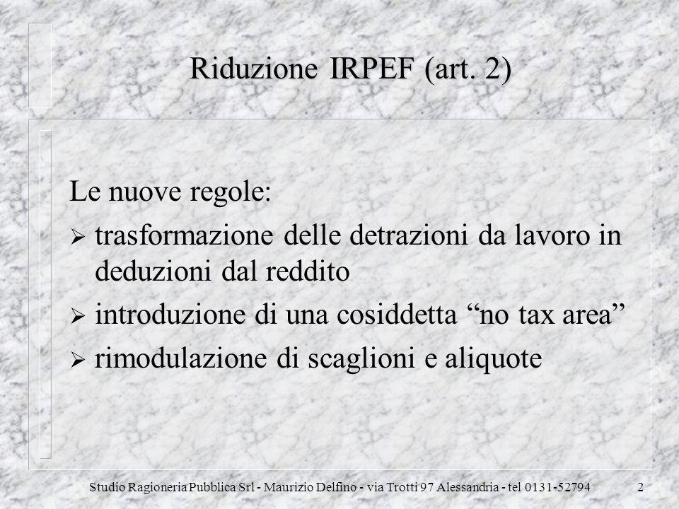 Studio Ragioneria Pubblica Srl - Maurizio Delfino - via Trotti 97 Alessandria - tel 0131-527942 Riduzione IRPEF (art. 2) Le nuove regole: trasformazio