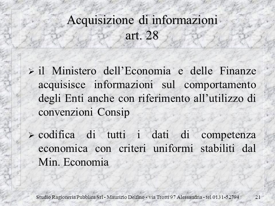 Studio Ragioneria Pubblica Srl - Maurizio Delfino - via Trotti 97 Alessandria - tel 0131-5279421 Acquisizione di informazioni art. 28 il Ministero del