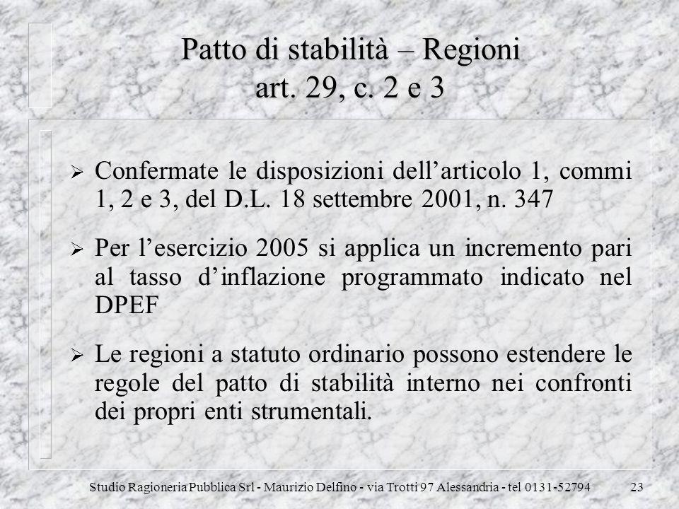 Studio Ragioneria Pubblica Srl - Maurizio Delfino - via Trotti 97 Alessandria - tel 0131-5279423 Patto di stabilità – Regioni art. 29, c. 2 e 3 Confer