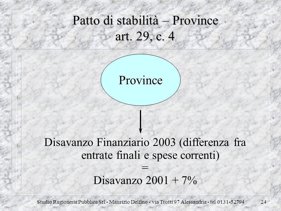 Studio Ragioneria Pubblica Srl - Maurizio Delfino - via Trotti 97 Alessandria - tel 0131-5279424 Patto di stabilità – Province art. 29, c. 4 Disavanzo