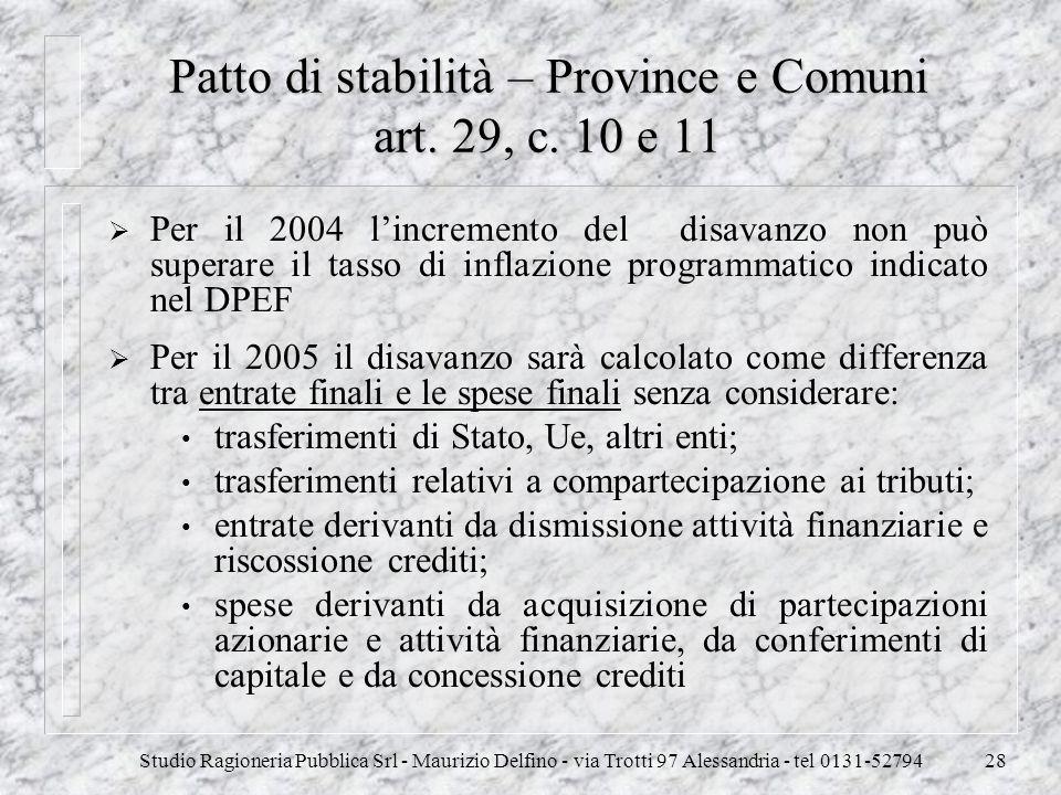 Studio Ragioneria Pubblica Srl - Maurizio Delfino - via Trotti 97 Alessandria - tel 0131-5279428 Patto di stabilità – Province e Comuni art. 29, c. 10