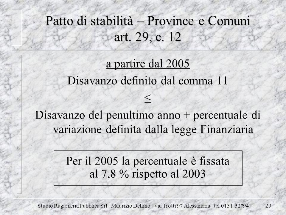 Studio Ragioneria Pubblica Srl - Maurizio Delfino - via Trotti 97 Alessandria - tel 0131-5279429 Patto di stabilità – Province e Comuni art. 29, c. 12