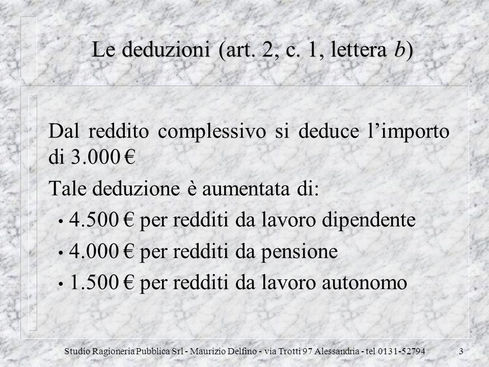 Studio Ragioneria Pubblica Srl - Maurizio Delfino - via Trotti 97 Alessandria - tel 0131-527943 Le deduzioni (art. 2, c. 1, lettera b) Dal reddito com