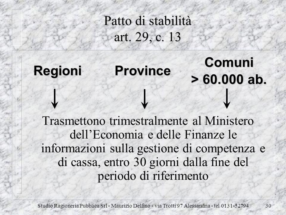 Studio Ragioneria Pubblica Srl - Maurizio Delfino - via Trotti 97 Alessandria - tel 0131-5279430 Patto di stabilità art. 29, c. 13 Trasmettono trimest