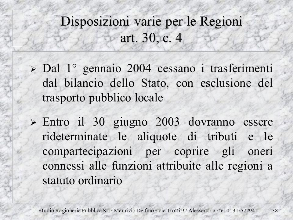 Studio Ragioneria Pubblica Srl - Maurizio Delfino - via Trotti 97 Alessandria - tel 0131-5279438 Disposizioni varie per le Regioni art. 30, c. 4 Dal 1