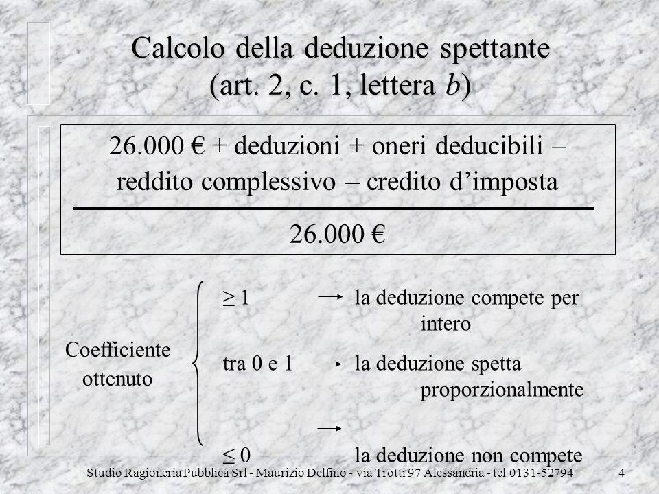 Studio Ragioneria Pubblica Srl - Maurizio Delfino - via Trotti 97 Alessandria - tel 0131-527944 Calcolo della deduzione spettante (art. 2, c. 1, lette