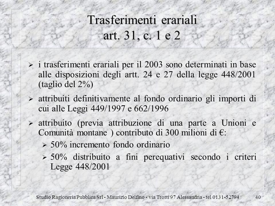 Studio Ragioneria Pubblica Srl - Maurizio Delfino - via Trotti 97 Alessandria - tel 0131-5279440 Trasferimenti erariali art. 31, c. 1 e 2 i trasferime