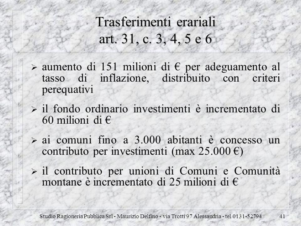 Studio Ragioneria Pubblica Srl - Maurizio Delfino - via Trotti 97 Alessandria - tel 0131-5279441 Trasferimenti erariali art. 31, c. 3, 4, 5 e 6 aument