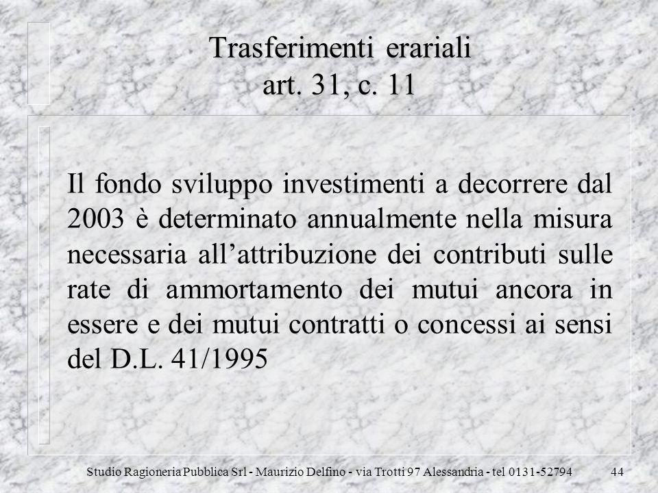 Studio Ragioneria Pubblica Srl - Maurizio Delfino - via Trotti 97 Alessandria - tel 0131-5279444 Trasferimenti erariali art. 31, c. 11 Il fondo svilup