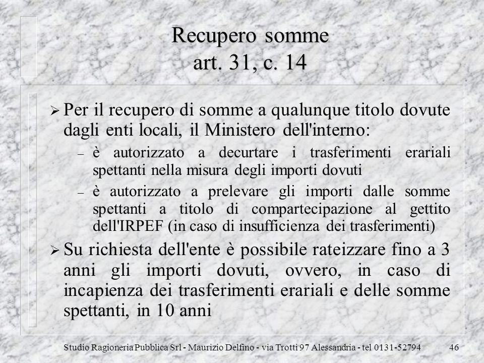 Studio Ragioneria Pubblica Srl - Maurizio Delfino - via Trotti 97 Alessandria - tel 0131-5279446 Recupero somme art. 31, c. 14 Per il recupero di somm