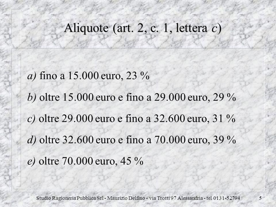 Studio Ragioneria Pubblica Srl - Maurizio Delfino - via Trotti 97 Alessandria - tel 0131-527945 Aliquote (art. 2, c. 1, lettera c) a) fino a 15.000 eu