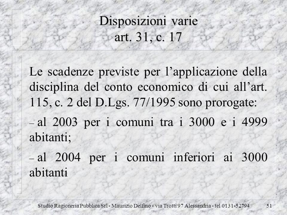 Studio Ragioneria Pubblica Srl - Maurizio Delfino - via Trotti 97 Alessandria - tel 0131-5279451 Disposizioni varie art. 31, c. 17 Le scadenze previst