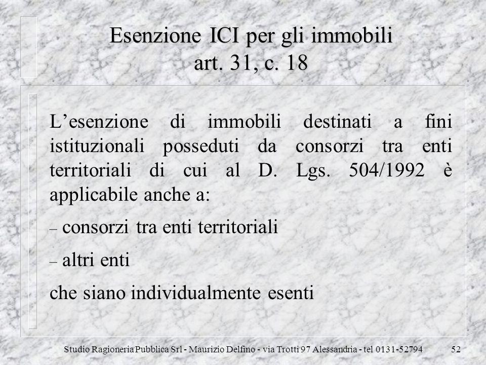 Studio Ragioneria Pubblica Srl - Maurizio Delfino - via Trotti 97 Alessandria - tel 0131-5279452 Esenzione ICI per gli immobili art. 31, c. 18 Lesenzi