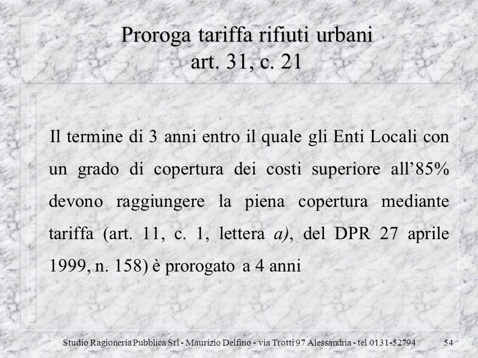 Studio Ragioneria Pubblica Srl - Maurizio Delfino - via Trotti 97 Alessandria - tel 0131-5279454 Proroga tariffa rifiuti urbani art. 31, c. 21 Il term