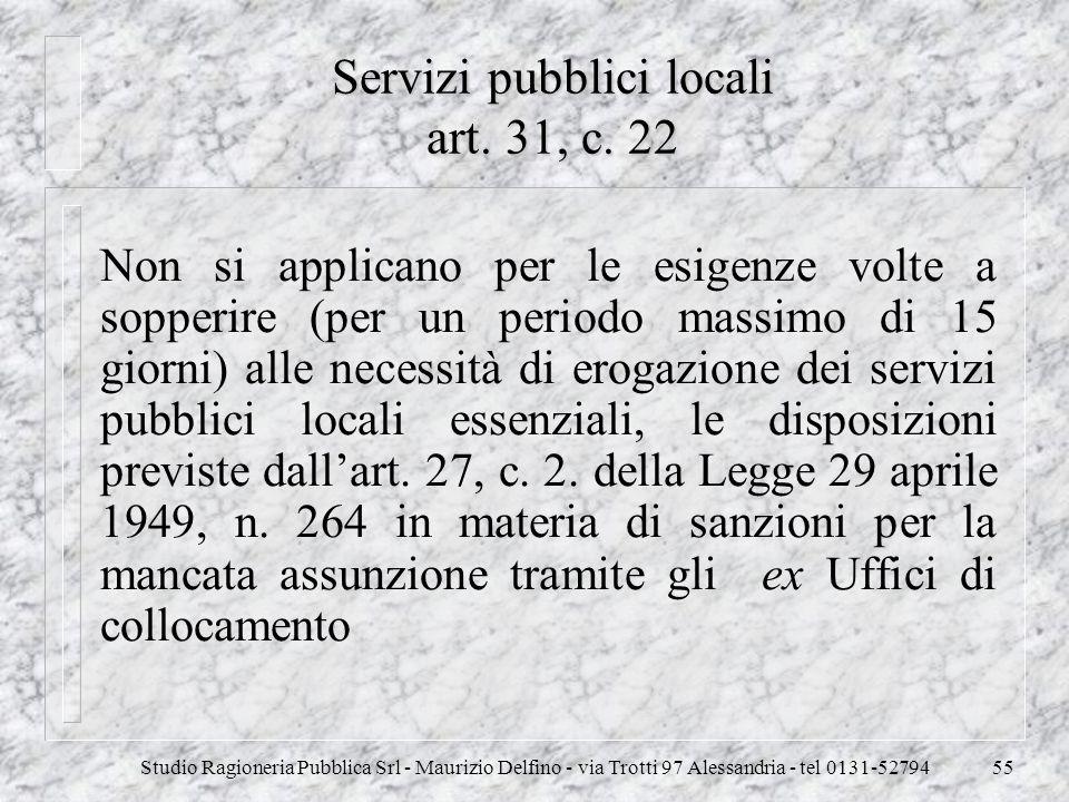 Studio Ragioneria Pubblica Srl - Maurizio Delfino - via Trotti 97 Alessandria - tel 0131-5279455 Servizi pubblici locali art. 31, c. 22 Non si applica