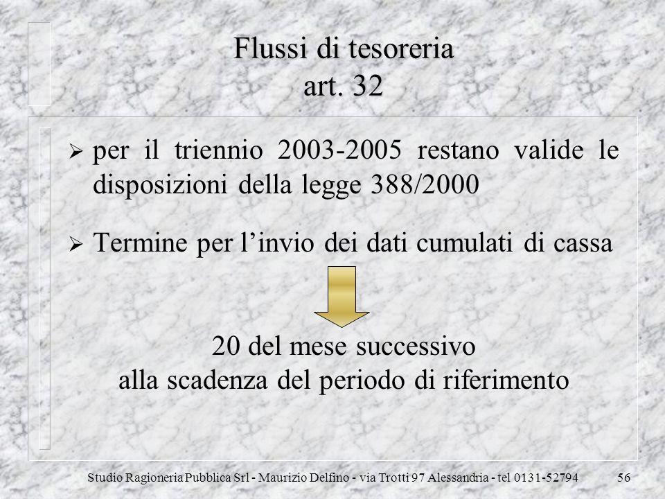 Studio Ragioneria Pubblica Srl - Maurizio Delfino - via Trotti 97 Alessandria - tel 0131-5279456 Flussi di tesoreria art. 32 per il triennio 2003-2005