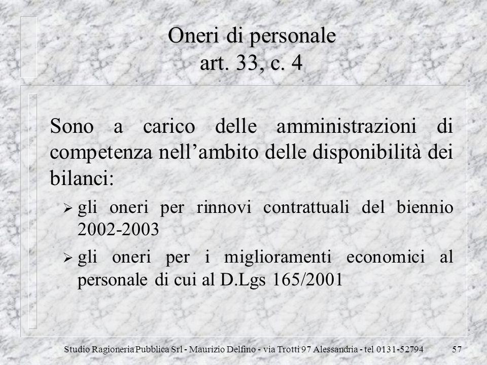 Studio Ragioneria Pubblica Srl - Maurizio Delfino - via Trotti 97 Alessandria - tel 0131-5279457 Oneri di personale art. 33, c. 4 Sono a carico delle