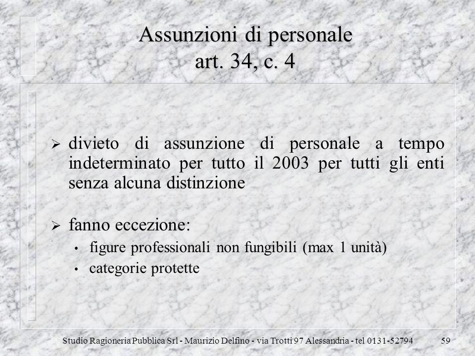 Studio Ragioneria Pubblica Srl - Maurizio Delfino - via Trotti 97 Alessandria - tel 0131-5279459 Assunzioni di personale art. 34, c. 4 divieto di assu
